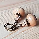 Náušnice - Drevené náušnice s jaspisom - 9276089_