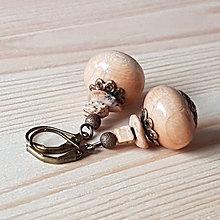 Náušnice - Drevené náušnice s jaspisom - 9276107_