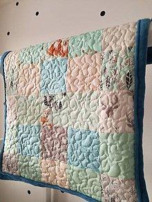 Textil - Detská deka modrá, Zvieratká z lesa, 71x82cm - 9277234_