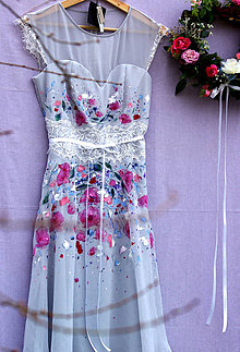 Šaty - krásne ručne maľované svadobné šaty -