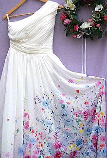Šaty - nežné ručne maľované svadobné šaty -