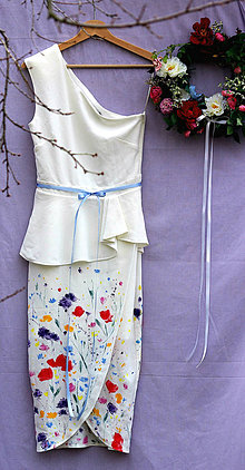 Šaty - romantické ručne maľované svadobné šaty -