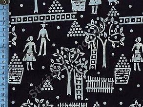 Textil - Metráž bavlna MODROTLAČ, vzor 57 - 9275592_