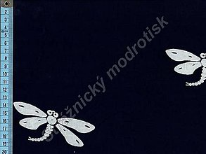 Textil - Metráž bavlna MODROTLAČ, vzor 75 - 9275757_