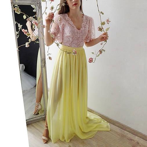 Šifónová sukňa s vlečkou rôzne farby