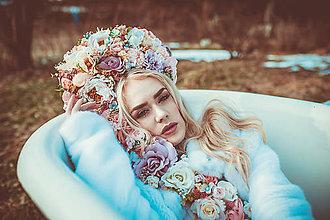 Ozdoby do vlasov - Veľká ružová kvetinová koruna - 9277515_