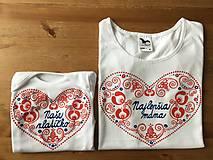 Originálne ľudovo ladené tričko pre malú slečnu (Pre mamku a dcéru (tričko+body))