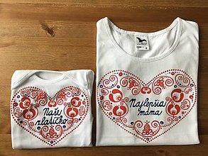 Detské oblečenie - Originálne ľudovo ladené tričko pre malú slečnu (Pre mamku a dcéru (tričko+body)) - 9277385_