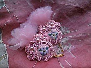 Náušnice - Romantické šujtášové náušničky  (Ružové s organzou) - 9276932_