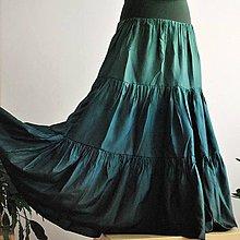 Sukne - Zelená - dlouhá volánová hedvábná sukně - 9275296_