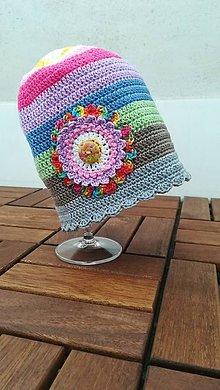 Čiapky - Detská háčkovaná čiapka v pastelových farbách - 9278136_