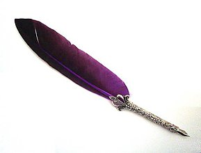 Dekorácie - Pierkové pero s piatimi nástavcami (Fialové) - 9281735_