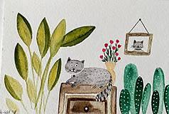 Papiernictvo - Rastliny a mačky 3 ilustrácia pohľadnica  / originál maľba - 9280362_