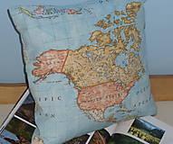 Úžitkový textil - Obliečka Svetová mapa - 9279891_