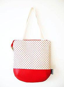 Veľké tašky - Veľká režná taška na plece - červené bodky - 9279703_