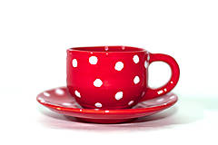 Nádoby - Červená piccolo šálka s podšálkou  - 9279110_
