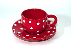 Nádoby - Červená piccolo šálka s podšálkou - 9279111_