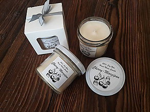 Svietidlá a sviečky - Sviečka zo 100% sójového vosku v skle - Višňa&Marcipán - Darčeková krabička - 9282168_