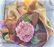 Duša zeme- hodvábny maľovaný šál