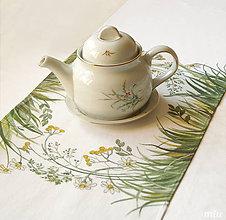 Úžitkový textil - Maľované prestieranie (štóla) s lúčnymi kvetmi a trávami - 9282363_