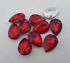 Komponenty - Sklenený kabošon slza - červený (13x18mm) - 9279639_