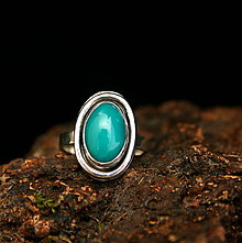 Prstene - Strieborný prsteň s prírodným tyrkysom - 9280101_