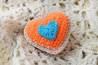 Dekorácie - Háčkované srdiečko ♥ v neónovej oranžovej - 9281523_