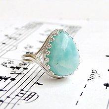 Prstene - Teardrop Larimar & Silver Ag 925 Ring / Strieborný prsteň v tvare slzy s larimarom #0364 - 9283752_