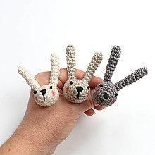 Prstene - Prsteň Zajko rozprávkový (100% bavlna, sivý) - 9283843_