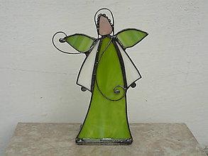 Svietidlá a sviečky - Green angel - svietnik - 9284565_