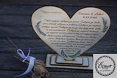 Dekorácie - Ďakovné srdce - svadobné - 9285843_
