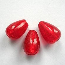 Korálky - Lampwork slzy 20x12mm-1ks (červená) - 9285780_