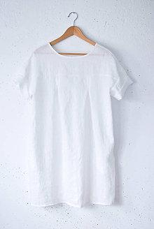 Šaty - Ľanové šaty NORA biele - 9284523_