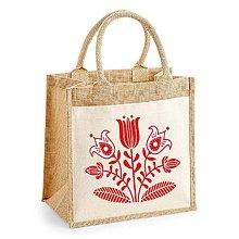 Nákupné tašky - Taška s juty  Kvety ľudový motív 01 - 9285177_