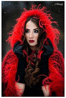 Kabáty - Krátky červeno-čierny kabátik s kapucňou a perím - 9282670_