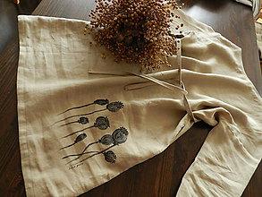 Šaty - Ľanové šaty béžové s makovicami - 9282977_