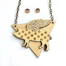 Sady šperkov - Náhrdelník Lietajúce prasiatko + náušnice - 9283216_
