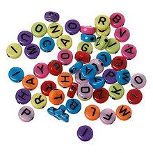 Korálky - Guľaté farebné korálky s písmenkom - 9283270_