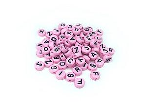 Korálky - Písmenká na ružovej korálke - 9285911_