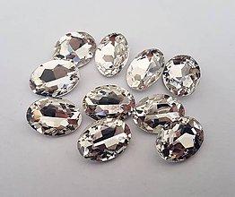 Komponenty - Sklenený kabošon oval - crystal (13x18mm) - 9284351_