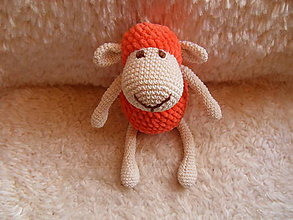 Hračky - Milá háčkovaná ovečka (Oranžová) - 9284066_