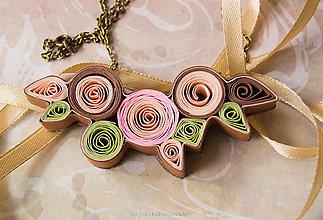 Náhrdelníky - Quilling náhrdelník ružovo hnedý - 9284098_