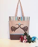 - Nákupná taška - sloníky (krátke rúčky - bez gombíka) - 9283020_