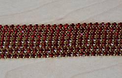 Strasová borta zlatá - červená 2mm, 0.30€/10cm