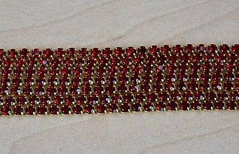 Galantéria - Strasová borta zlatá - červená 2mm, 0.30€/10cm - 9283308_