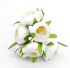Iný materiál - 40. Čajovníkové kvety, textilné, väčšie (4cm) - 1 ks (40.6 Biele) - 9286841_