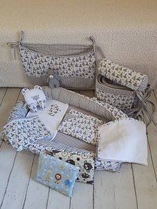 Textil - Hniezdo s doplnkami - medvedík v sivom - 9286662_