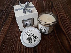 Svietidlá a sviečky - Sviečka zo 100% sójového vosku v skle - Ruža - Darčeková krabička - 9288629_