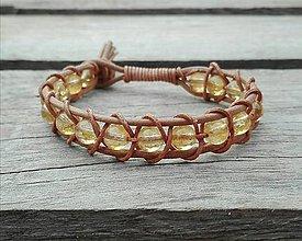 Náramky - Kožený NATUR náramok - citrín - 9287649_