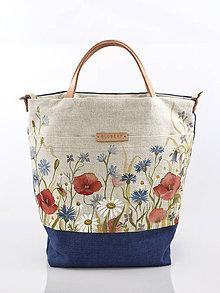 Kabelky - Veľká ručne maľovaná ľanová kabelka